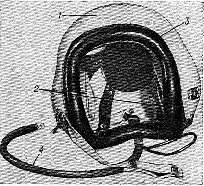 Рис. 4. Противошумный шлем: 1 - - жесткий шлем; 2 —-наушники; 3 — уплотняющий валик; 4 — шланг для поддутия валика воздухом.