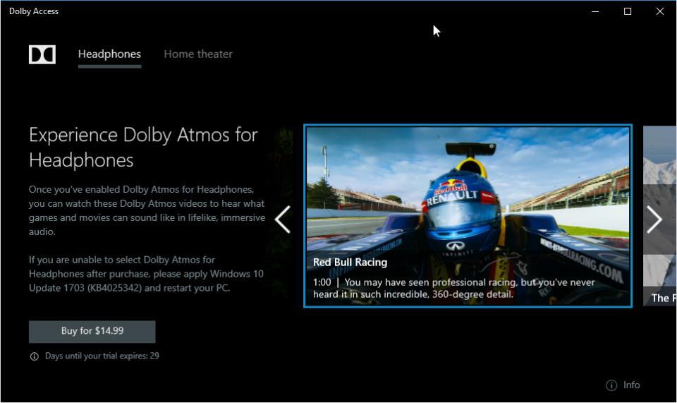 Dolby Access в магазине приложений Windows Store