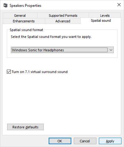 Windows Sonic активация режима звука 7.1