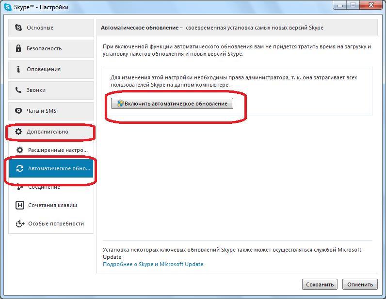 Установка автоматического обновления в Skype
