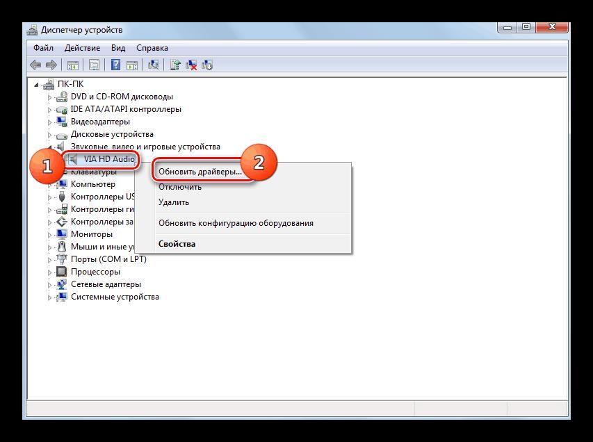 Переход к обновлению драйвера звуковой карты из раздела Звуковые, видео и игровые устройства в окне Диспетчера устройств в Windows 7