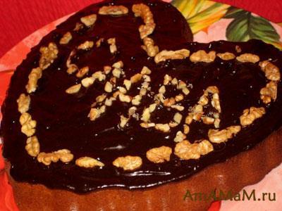 Французский шоколадный торт с мандаринами и кусочками шоколада