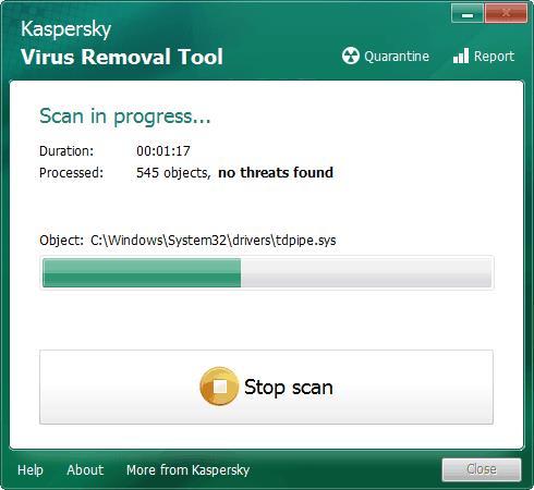 Процесс сканирования на вирусную активность с помощью антивирусной утилиты Kaspersky Virus Removal Tool