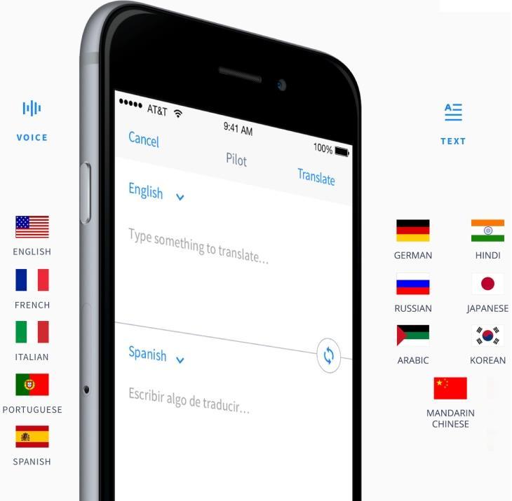 Бесплатное приложение для перевода речи и текстовых сообщений Pilot Speech Translation работает с несколькими языками