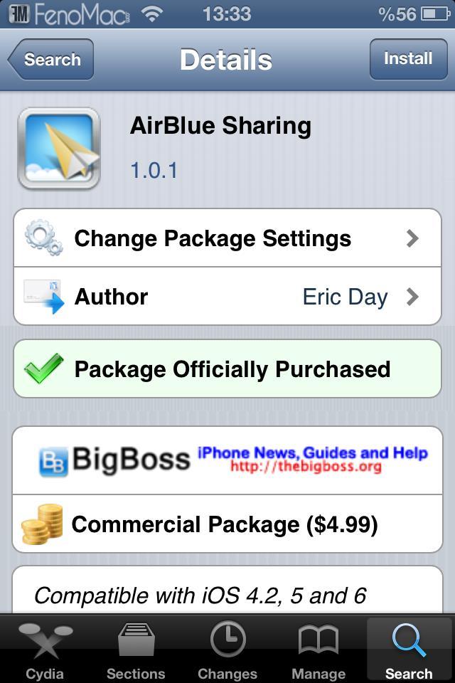 Входим в «Airblue sharing» и находим программу