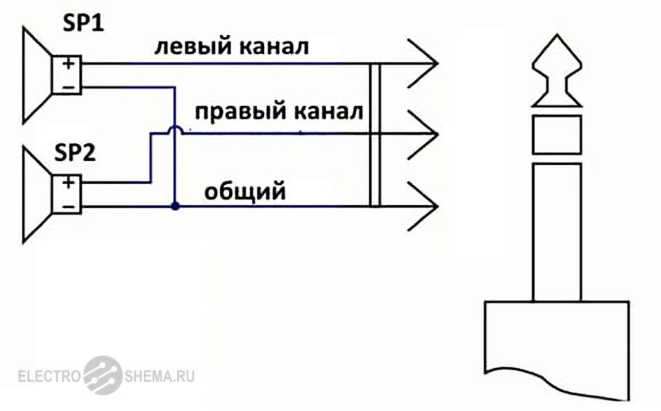 Схема наушников с тремя проводами