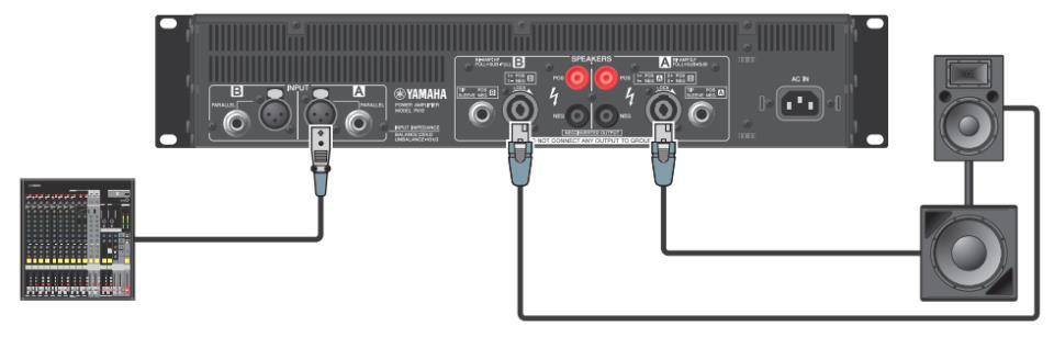 Подключения широкополосных АС к двухканальному усилителю в режиме моно