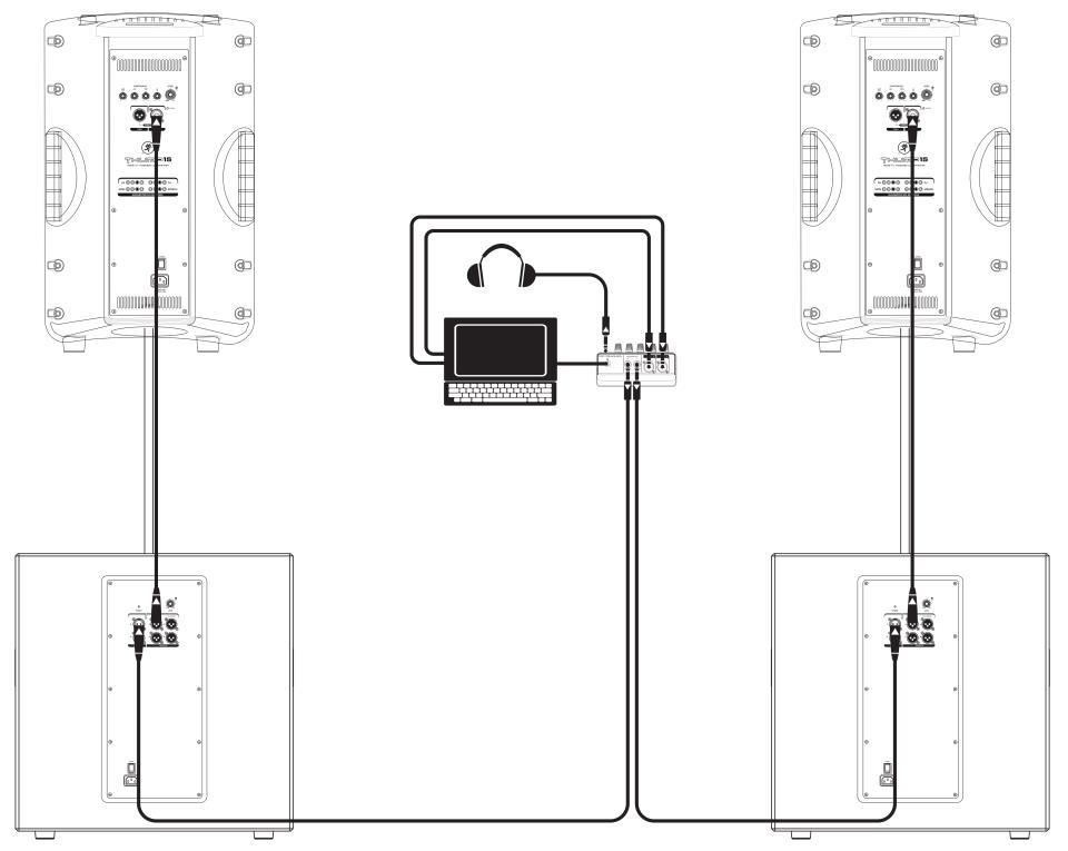 Схема подключения (два сабвуфера и два сателлита)