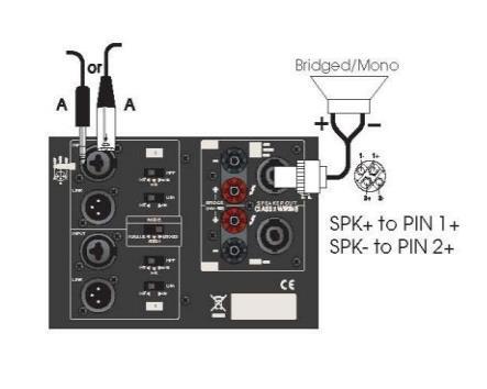 Схема мостового подключения АС на разъеме Speakon