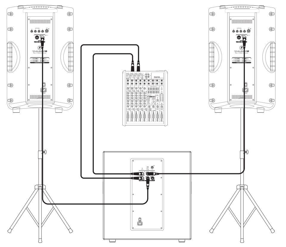 Схема подключения (один сабвуфер и два сателлита)