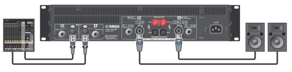 Подключения широкополосных АС к двухканальному усилителю в режиме стерео