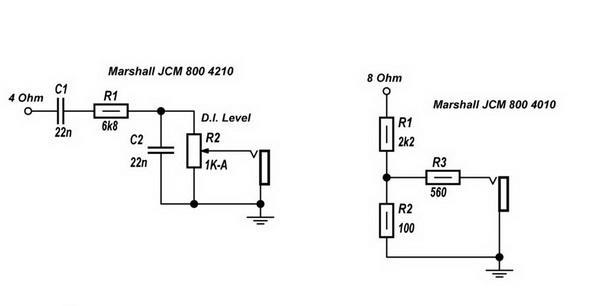 Регулируемый и не регулируемый линейный выход схема от усилителя Marshall JCM 800 на нагрузку 4 Ом и 8 Ом: