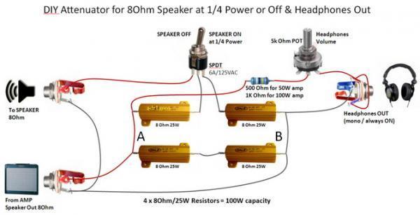 Аттенюатор на 50 Вт и линейный выход для лампового гитарного усилителя на нагрузку 8 Ом схема ниже на рисунке: