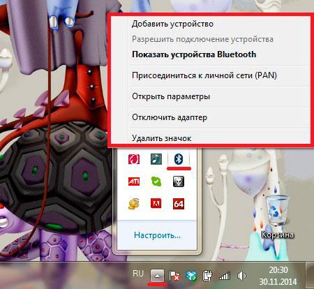 Предварительно меню Bluetooth адаптера в Windows 7