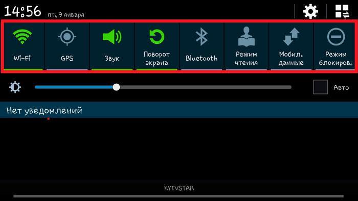Панель инструментов Android