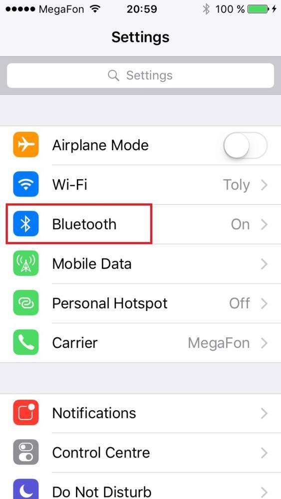 Функция Bluetooth