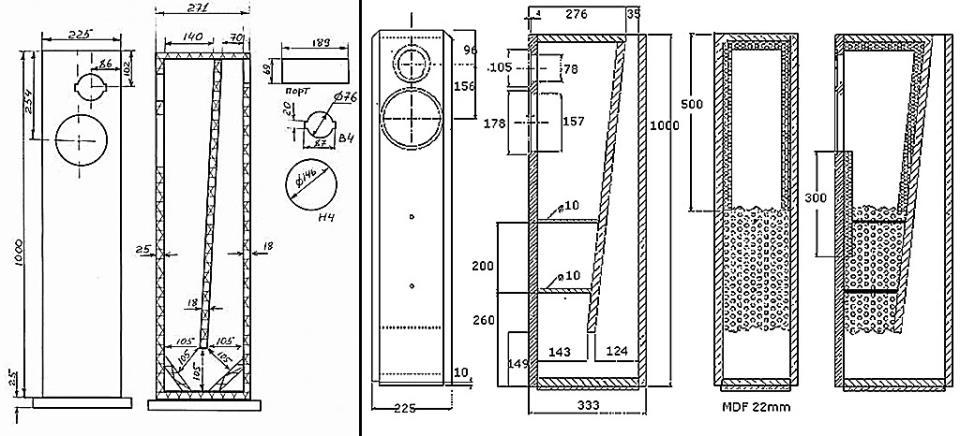 Чертежи напольных акустических систем с лабиринтом